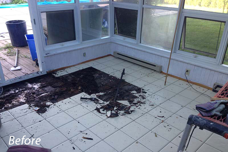 Solarium Heated Floor Before
